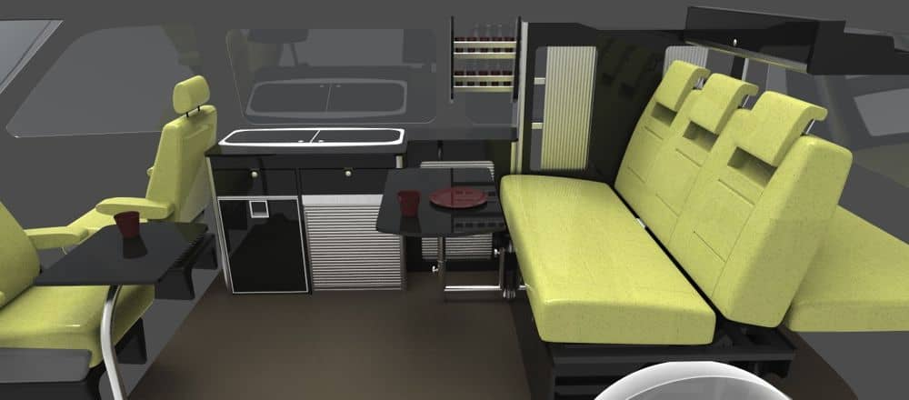 Gloss black units with pistachio rib seats