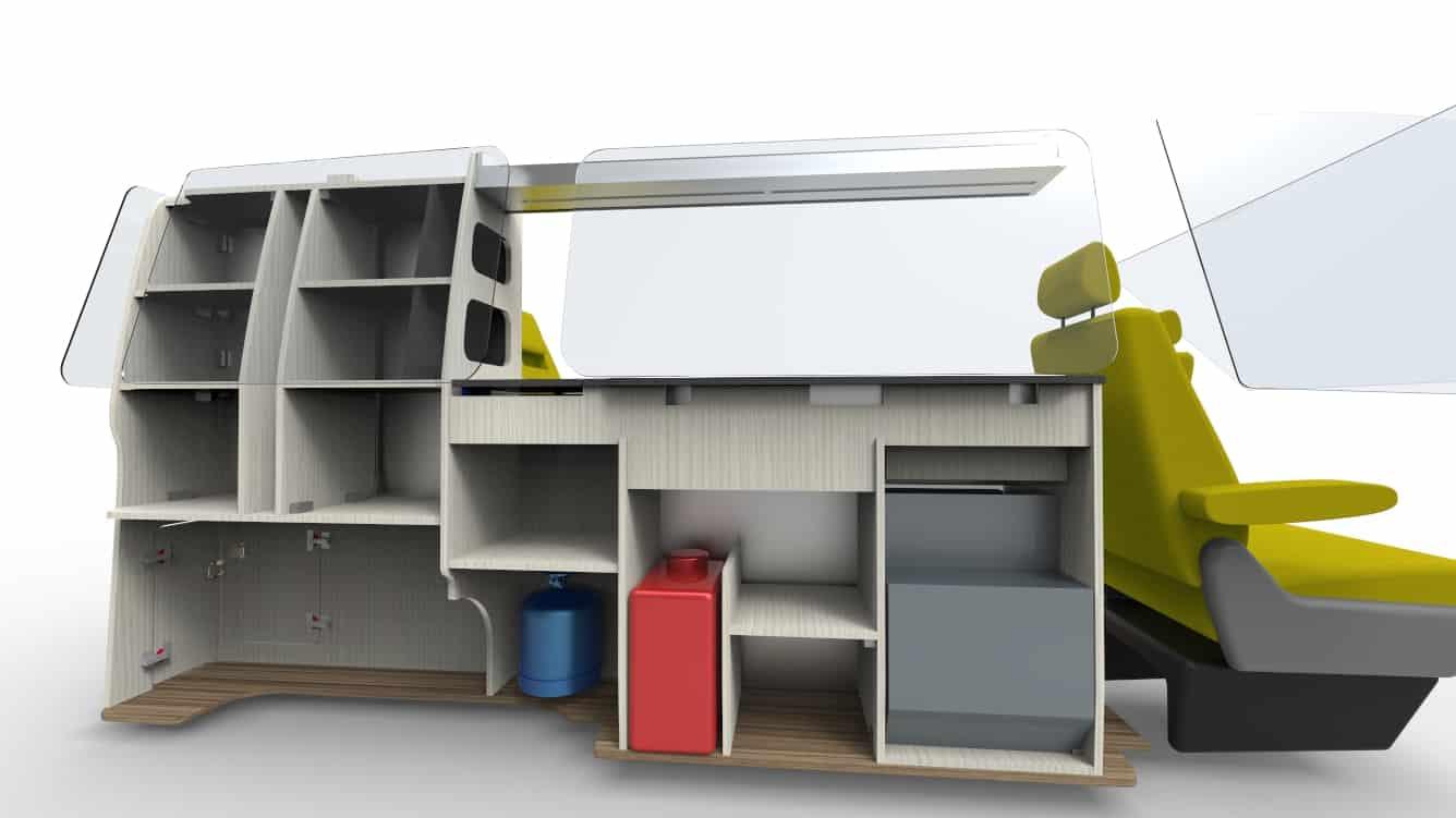 Furniture Kit 1200 RIB seat VW T5 Short Wheel base van