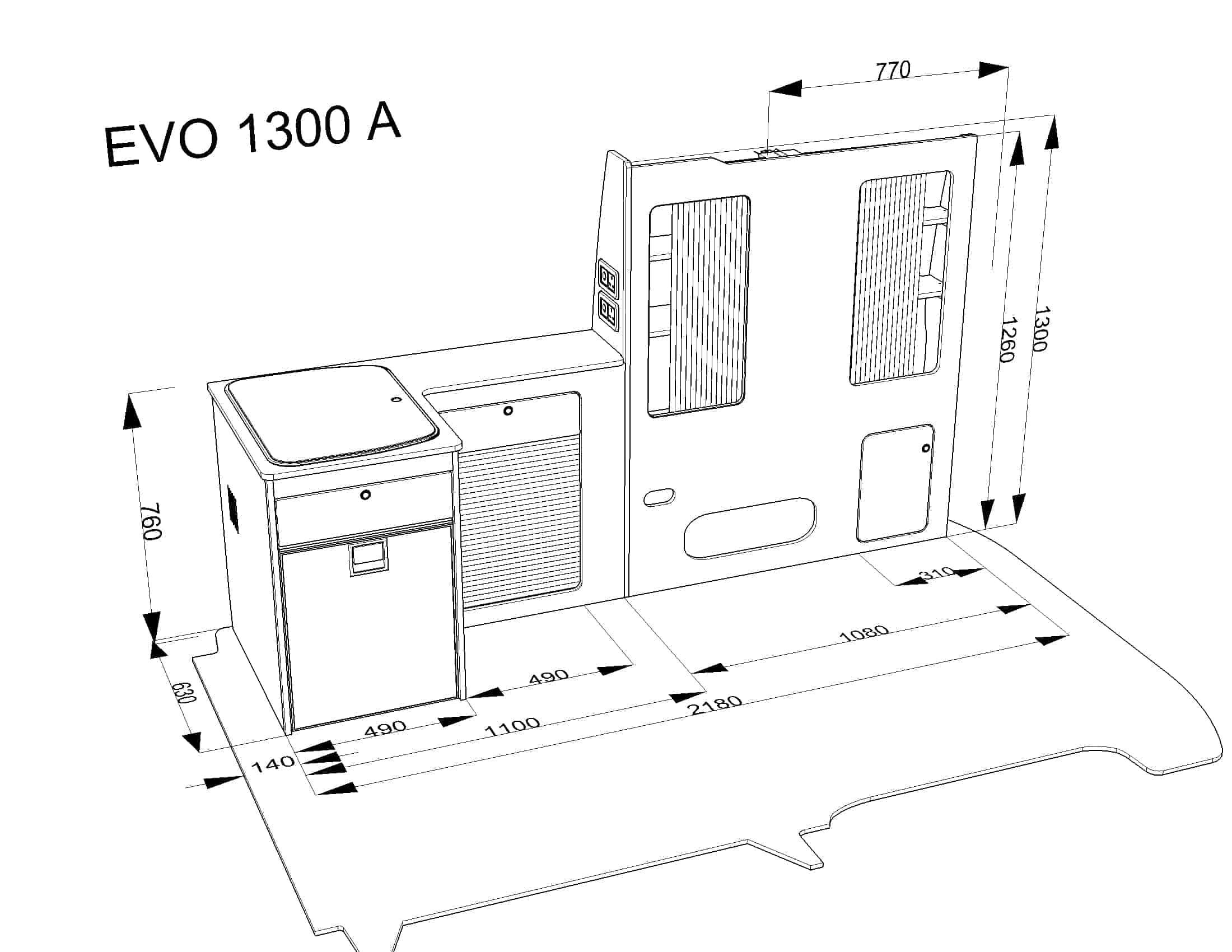 Furniture kit 1300 a rib seat vw t5 short wheel base for Campervan furniture plans
