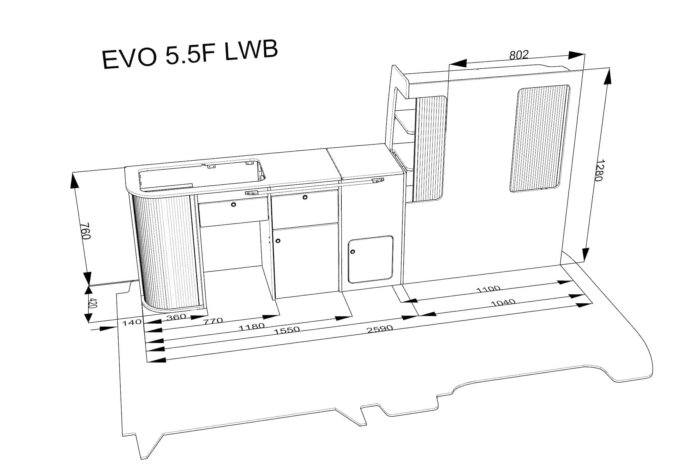 evo 5 5f  u2013 curved kit  u2013 front loading fridge  u2013 long wheel