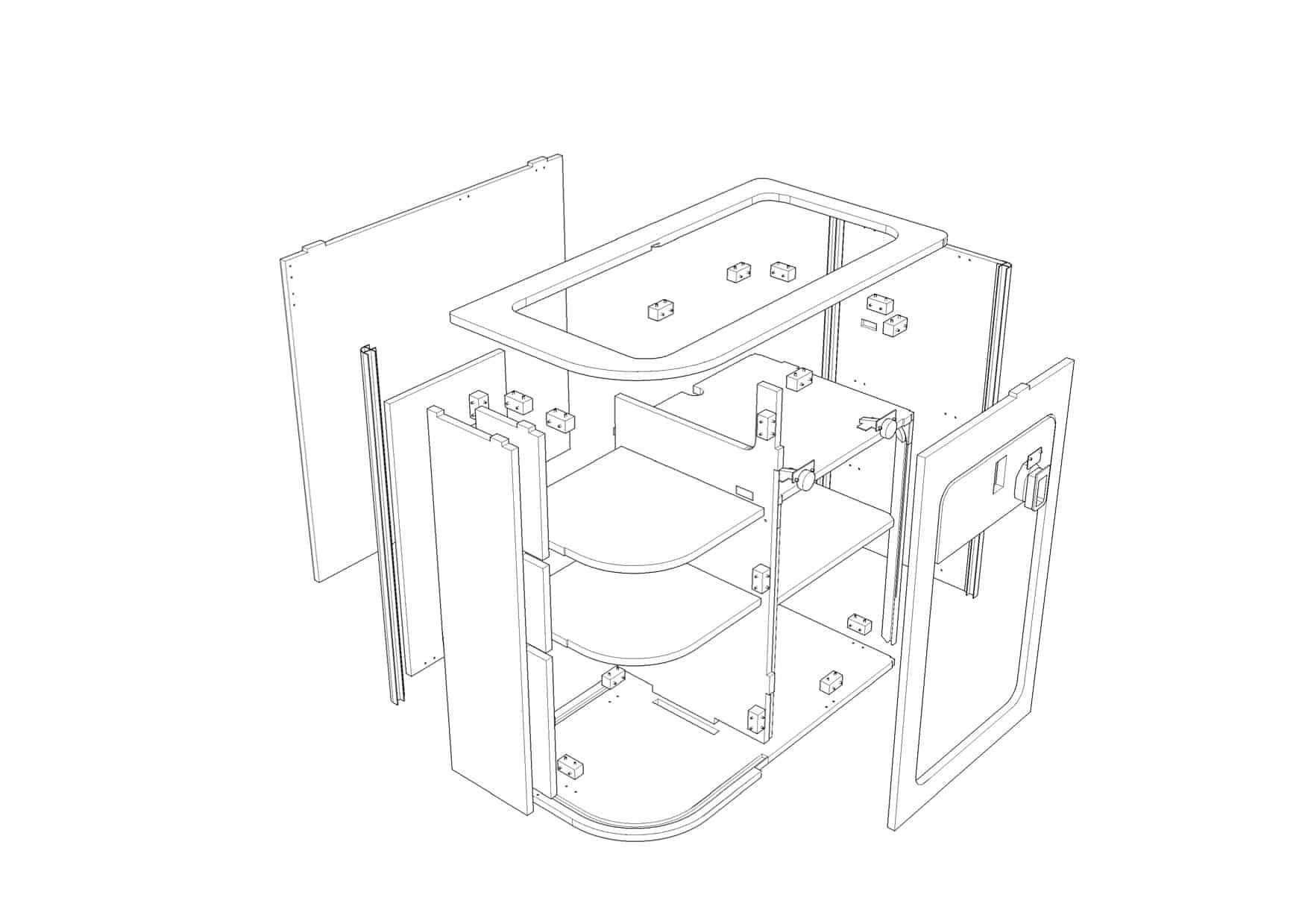 Curve Kitchen pod 1 flat pack | EVO Design