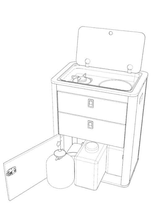 vw flatpack kitchen pod
