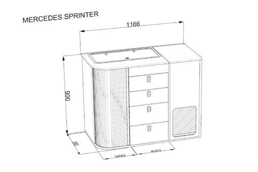 MERCEDES SPRINTER DIY FLATPACK KIT DIMENSIONS